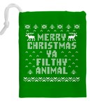 Ugly Christmas Ya Filthy Animal Drawstring Pouches (XXL) Back