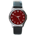 Lumberjack Plaid Fabric Pattern Red Black Round Metal Watch Front