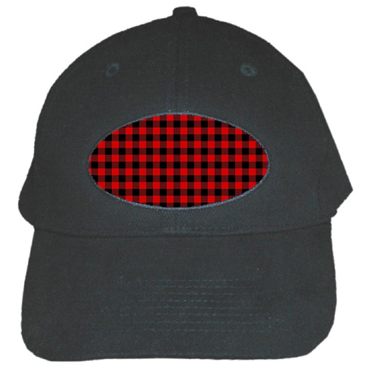 Lumberjack Plaid Fabric Pattern Red Black Black Cap