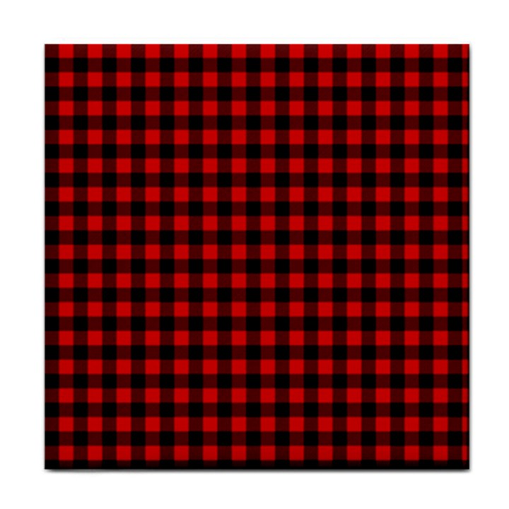 Lumberjack Plaid Fabric Pattern Red Black Tile Coasters
