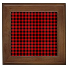 Lumberjack Plaid Fabric Pattern Red Black Framed Tiles