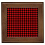 Lumberjack Plaid Fabric Pattern Red Black Framed Tiles Front