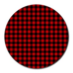 Lumberjack Plaid Fabric Pattern Red Black Round Mousepads