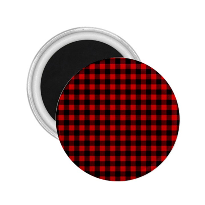 Lumberjack Plaid Fabric Pattern Red Black 2.25  Magnets