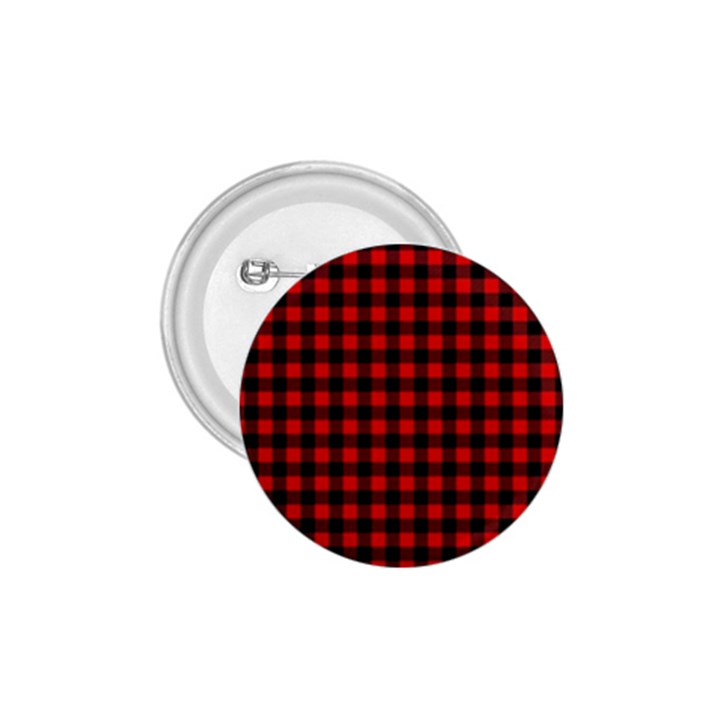 Lumberjack Plaid Fabric Pattern Red Black 1.75  Buttons