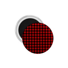 Lumberjack Plaid Fabric Pattern Red Black 1 75  Magnets
