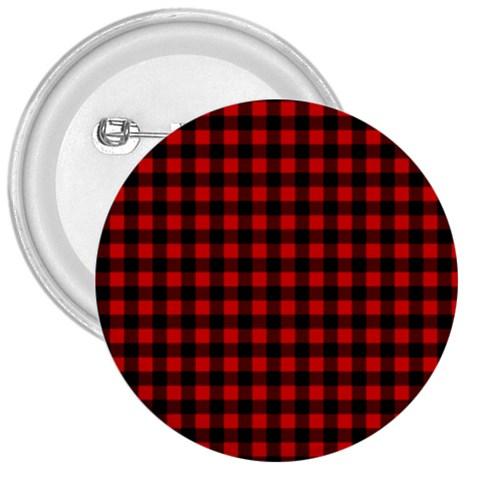 Lumberjack Plaid Fabric Pattern Red Black 3  Buttons