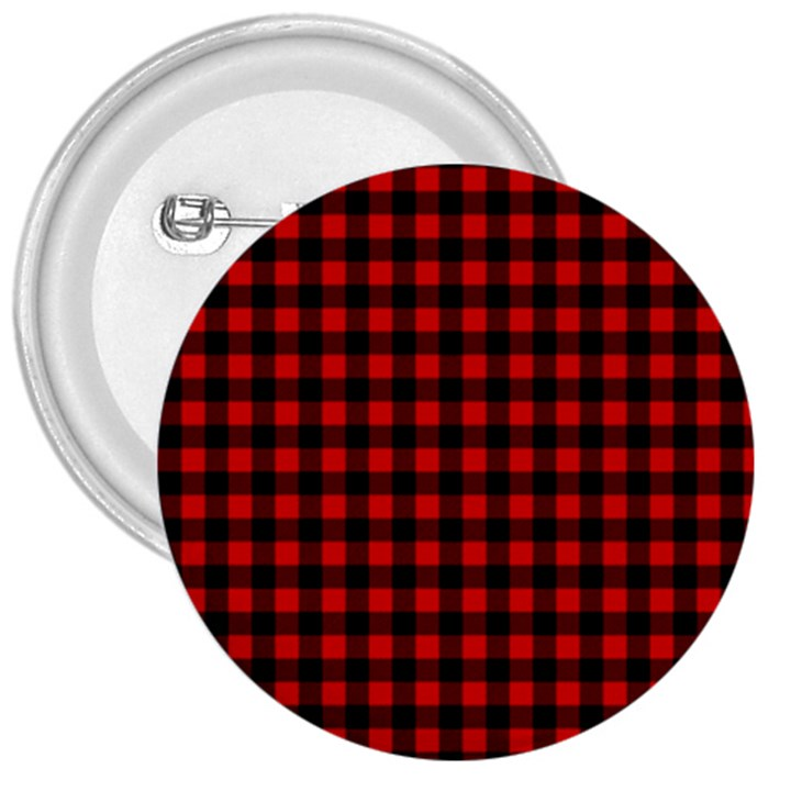 Lumberjack Plaid Fabric Pattern Red Black 3  Buttons
