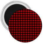 Lumberjack Plaid Fabric Pattern Red Black 3  Magnets Front