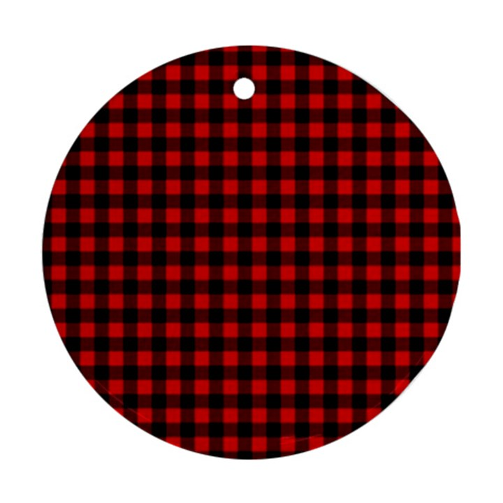 Lumberjack Plaid Fabric Pattern Red Black Ornament (Round)