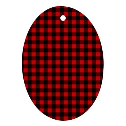Lumberjack Plaid Fabric Pattern Red Black Ornament (Oval)