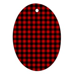 Lumberjack Plaid Fabric Pattern Red Black Ornament (oval)