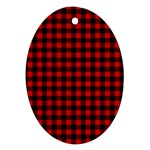 Lumberjack Plaid Fabric Pattern Red Black Ornament (Oval)  Front