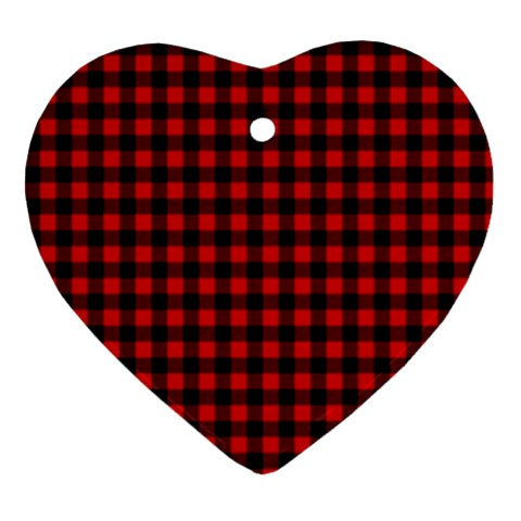 Lumberjack Plaid Fabric Pattern Red Black Ornament (Heart)