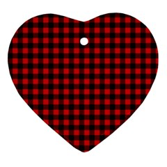 Lumberjack Plaid Fabric Pattern Red Black Ornament (heart)