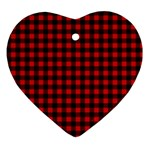 Lumberjack Plaid Fabric Pattern Red Black Ornament (Heart)  Front