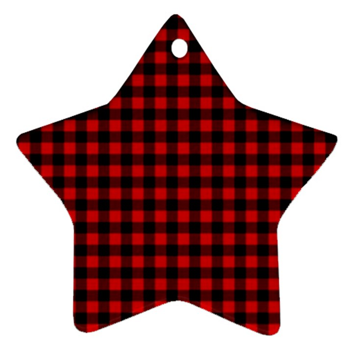 Lumberjack Plaid Fabric Pattern Red Black Ornament (Star)