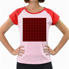Lumberjack Plaid Fabric Pattern Red Black Women s Cap Sleeve T Shirt