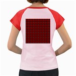 Lumberjack Plaid Fabric Pattern Red Black Women s Cap Sleeve T-Shirt Back