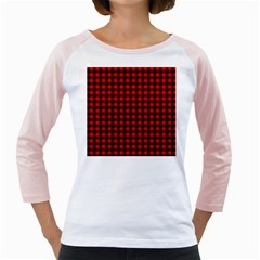 Lumberjack Plaid Fabric Pattern Red Black Girly Raglans