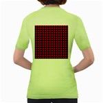 Lumberjack Plaid Fabric Pattern Red Black Women s Green T-Shirt Back