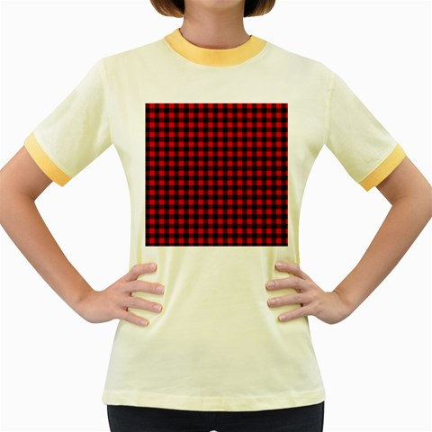 Lumberjack Plaid Fabric Pattern Red Black Women s Fitted Ringer T-Shirts
