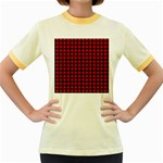 Lumberjack Plaid Fabric Pattern Red Black Women s Fitted Ringer T-Shirts Front