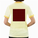 Lumberjack Plaid Fabric Pattern Red Black Women s Fitted Ringer T-Shirts Back