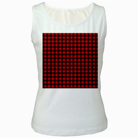 Lumberjack Plaid Fabric Pattern Red Black Women s White Tank Top
