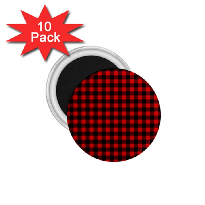 Lumberjack Plaid Fabric Pattern Red Black 1.75  Magnets (10 pack)