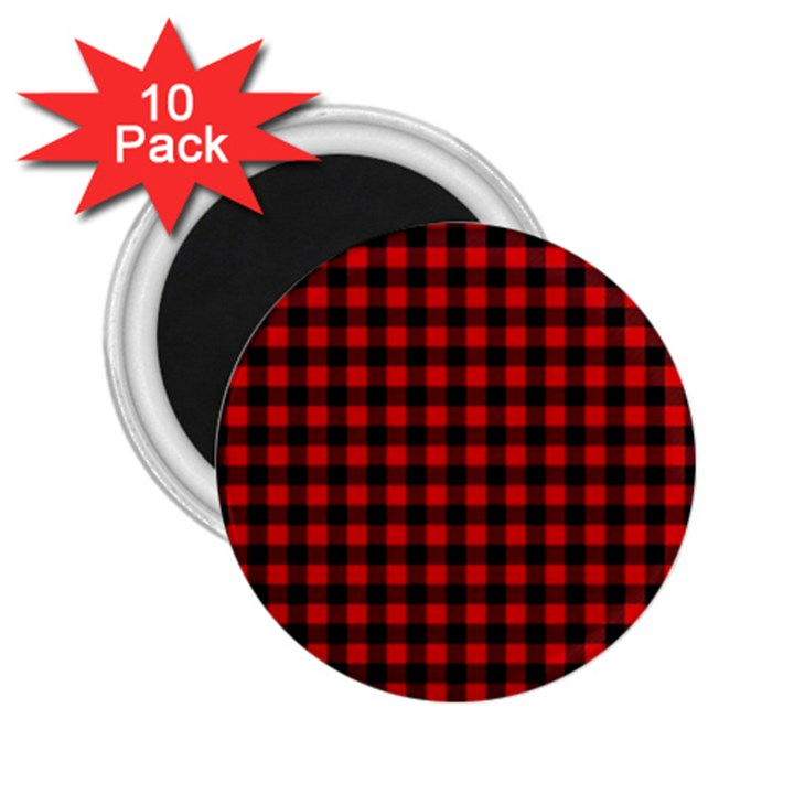 Lumberjack Plaid Fabric Pattern Red Black 2.25  Magnets (10 pack)