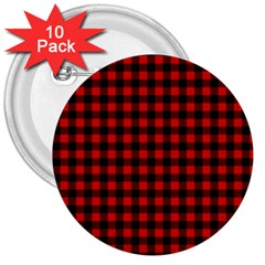 Lumberjack Plaid Fabric Pattern Red Black 3  Buttons (10 pack)