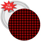Lumberjack Plaid Fabric Pattern Red Black 3  Buttons (10 pack)  Front