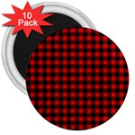 Lumberjack Plaid Fabric Pattern Red Black 3  Magnets (10 pack)  Front