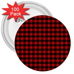 Lumberjack Plaid Fabric Pattern Red Black 3  Buttons (100 Pack)
