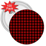 Lumberjack Plaid Fabric Pattern Red Black 3  Buttons (100 pack)  Front