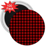 Lumberjack Plaid Fabric Pattern Red Black 3  Magnets (100 pack) Front
