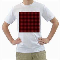 Lumberjack Plaid Fabric Pattern Red Black Men s T-Shirt (White) (Two Sided)
