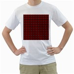 Lumberjack Plaid Fabric Pattern Red Black Men s T-Shirt (White) (Two Sided) Front