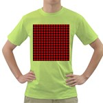 Lumberjack Plaid Fabric Pattern Red Black Green T-Shirt Front
