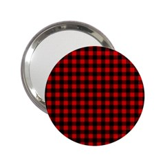 Lumberjack Plaid Fabric Pattern Red Black 2 25  Handbag Mirrors
