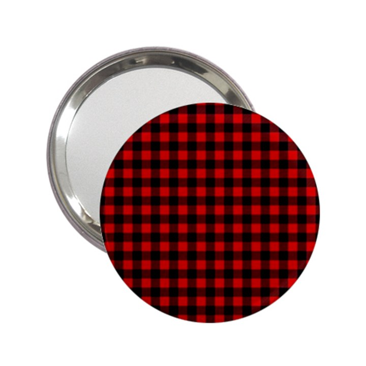 Lumberjack Plaid Fabric Pattern Red Black 2.25  Handbag Mirrors