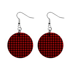 Lumberjack Plaid Fabric Pattern Red Black Mini Button Earrings