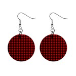 Lumberjack Plaid Fabric Pattern Red Black Mini Button Earrings Front