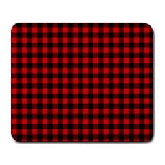 Lumberjack Plaid Fabric Pattern Red Black Large Mousepads
