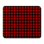 Lumberjack Plaid Fabric Pattern Red Black Large Mousepads Front
