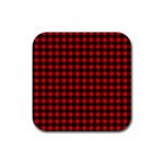 Lumberjack Plaid Fabric Pattern Red Black Rubber Coaster (Square)  Front