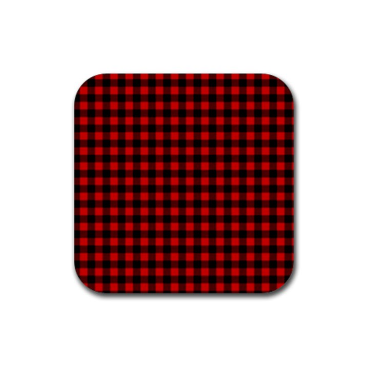 Lumberjack Plaid Fabric Pattern Red Black Rubber Coaster (Square)