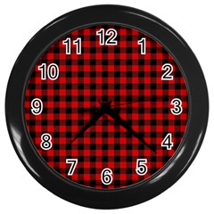 Lumberjack Plaid Fabric Pattern Red Black Wall Clocks (black)