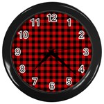 Lumberjack Plaid Fabric Pattern Red Black Wall Clocks (Black) Front